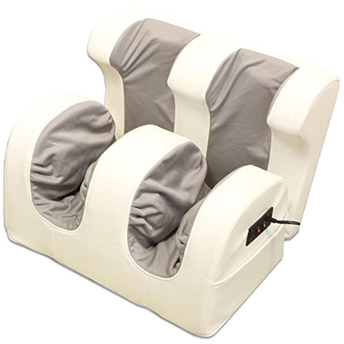 ドット孤独読書足マッサージ器 ホワイト×グレー ヒーター付き 白 足裏 ふくらはぎ 引き締め 揉み上げ 家庭用 マッサージ機