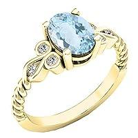 14K イエローゴールド 8x6mm オーバル&ラウンド ホワイトダイヤモンド レディース ユニーク ヴィンテージ 婚約指輪