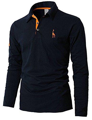 ポロシャツ 長袖 メンズ  ゴルフウェア スポーツウェア  グラストア(Glestore) S-XXL (XXL, 19.紺)