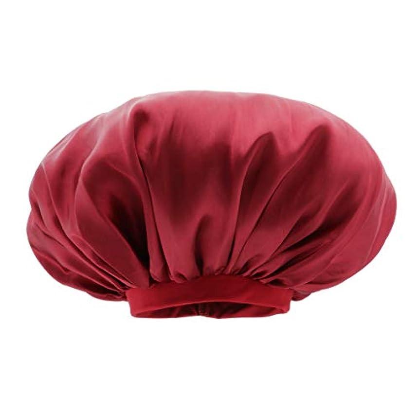 マーティンルーサーキングジュニア印象的シェルシャワー キャップ サテン 美容 キャップ ヘアキャップ スリープキャップ 全6色 - ワインレッド
