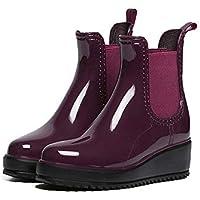 MEIGUIshop Rain Boots - Fashion Elastic Band Muffin Thick Bottom Non-Slip Boots