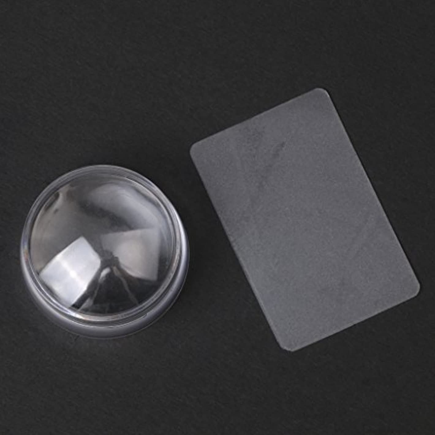発見する極地特徴CUTICATE 2个ネイルアートスタンプスタンパ掻きスクレーパーツールは透明に設定します
