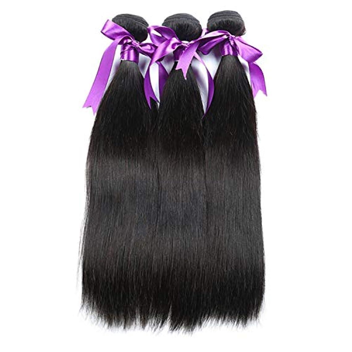 暫定の郡師匠かつら 髪マレーシアストレートヘア3個人間の髪の束非レミーの毛延長8-28インチボディヘアウィッグ (Length : 12 14 16)
