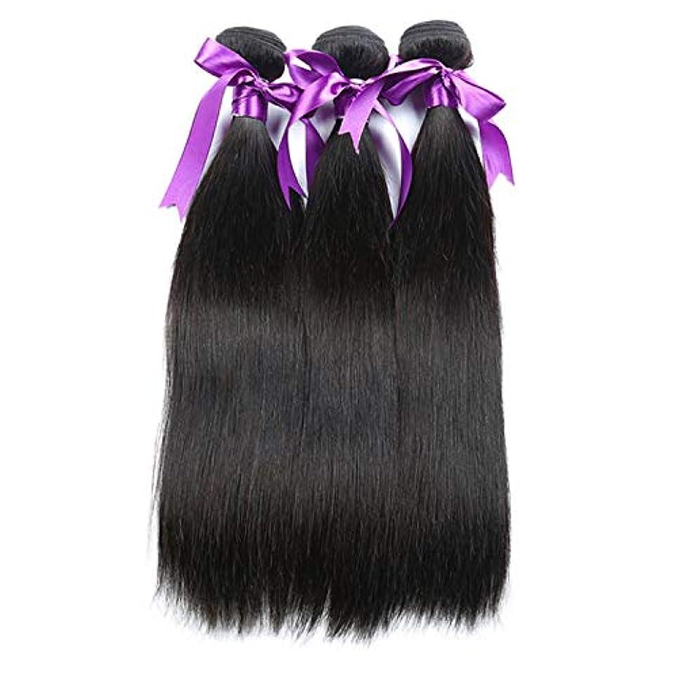妖精一緒夫婦髪マレーシアストレートヘア3個人間の髪の束非レミーの毛延長8-28インチボディヘアウィッグ (Length : 22 24 26)