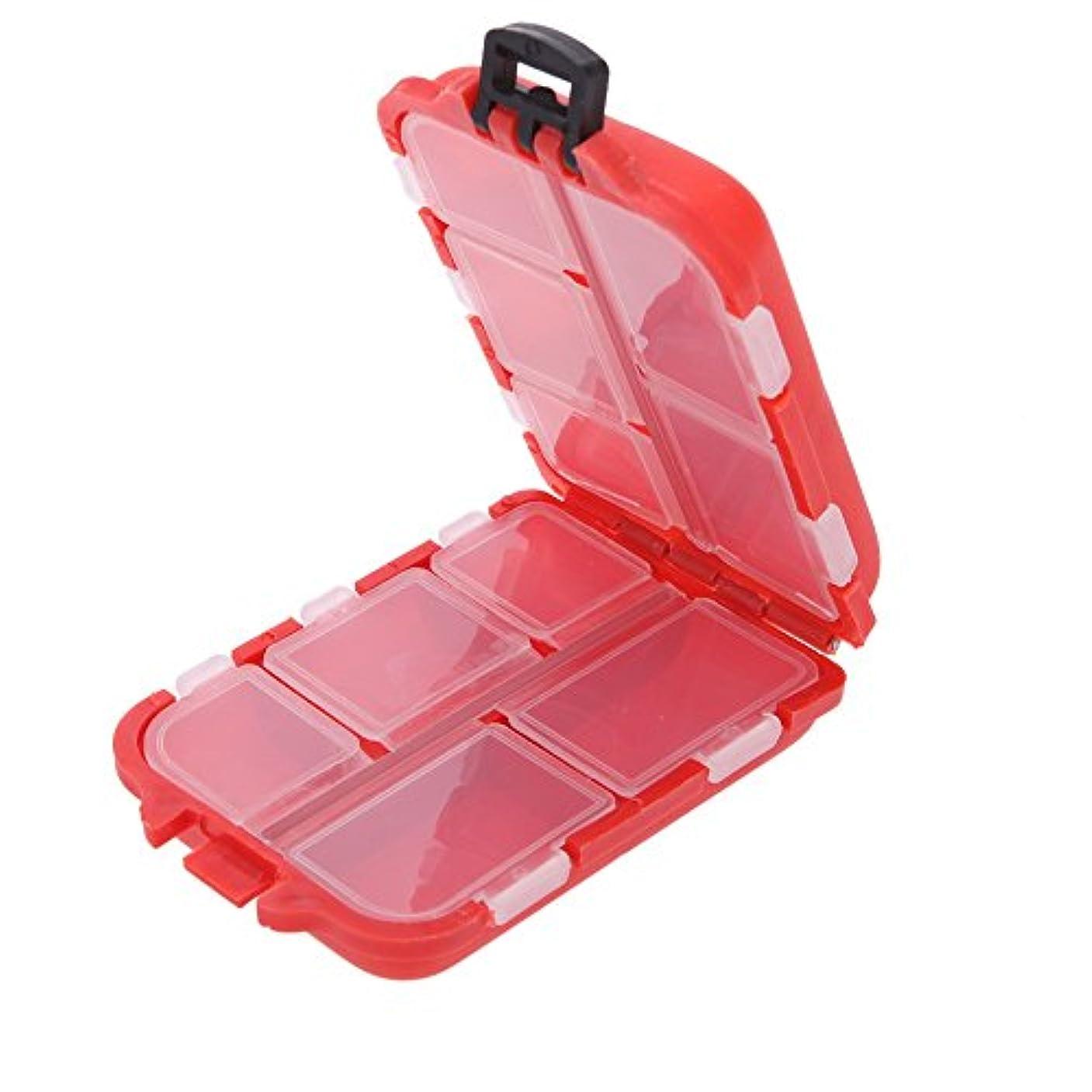 作成するメッセンジャー探偵釣り道具箱10コンパートメント小型釣りフック用スイベルビーズなど赤