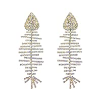 ShiSyan イヤリング プレゼント ヨーロッパやアメリカのファッションデザイントレンドの魚の骨のイヤリングスーパーフラッシュダイヤモンドの気質ロングイヤリング ホワイトデー贈り物