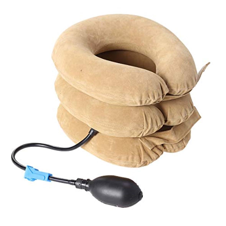 自宅でキモい対抗Healifty 首牽引1ピースポータブル全リント三層三管インフレータブルハンドル頸椎トラクターネックマッサージャー(ブラウンイエロー)