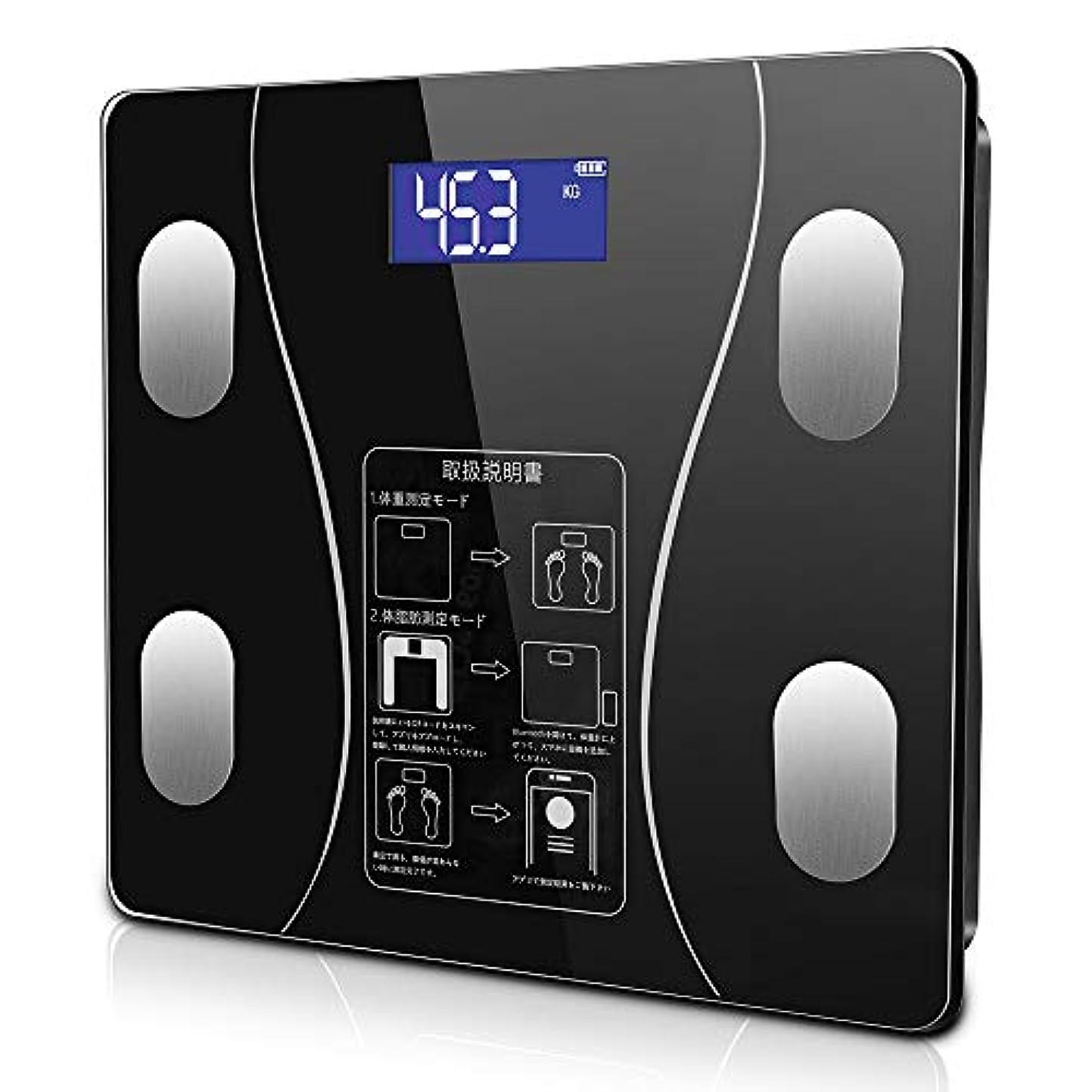 エミュレートするジュラシックパーク起こる体重計 体脂肪計 体組成計 ヘルスメーター Bluetooth LCDデジタル表示 強化ガラス 高精度センサー スマートスケール 体重/体脂肪率/BMI/BMR/体内水分/骨量/骨格筋など測定 健康管理