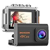 【新型】MUSON(ムソン) アクションカメラ 4K高画質 2000万画素 手振れ補正 WiFi搭載 外部マイク対応 30M防水 自撮り棒付き 1200mAhバッテリー2個 [メーカー1年保証] 170度広角レンズ リモコン付き 2インチ液晶画面 HDMI出力 ドライブレコーダーとして使用可能 水中カメラ 防犯カメラ スポーツカメラ ウェアラブルカメラ Pro3 (手ブレ補正あり) (BLACK)