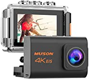 MUSON(ムソン) アクションカメラ 4K 高画質 手振れ補正付き webカメラ WiFi搭載 リモコン付き 外部マイク対応 40M防水 2000万画素 170度広角レンズ 2インチ液晶画面 HDMI出力 水中カメラ