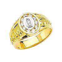 Jewels By Lux レディース グアダルーペ聖母マリアキュービックジルコニアCZファッション周年記念リングサイズの14Kイエローゴールド聖母 イエローゴールド 5