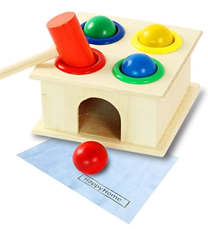 【HappyHome】木のおもちゃ 知育玩具 ハンマートイ 叩いて コロがす 形合わせ