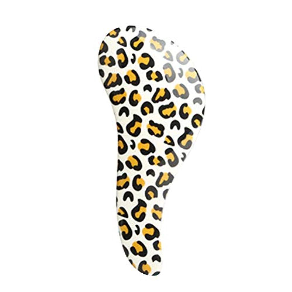 ぐったりシャッター近代化するTOPBATHY ヘアブラシもつれ防止頭皮アンチスタティックプラスチックブラシマッサージくし用サロンスタイリング女性女の子髪の毛全ての髪型(黄色ヒョウ柄)