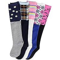 5 PCS Children's High Socks Knee Protector wild Student Socks, Cotton Long socks for Girl Boys