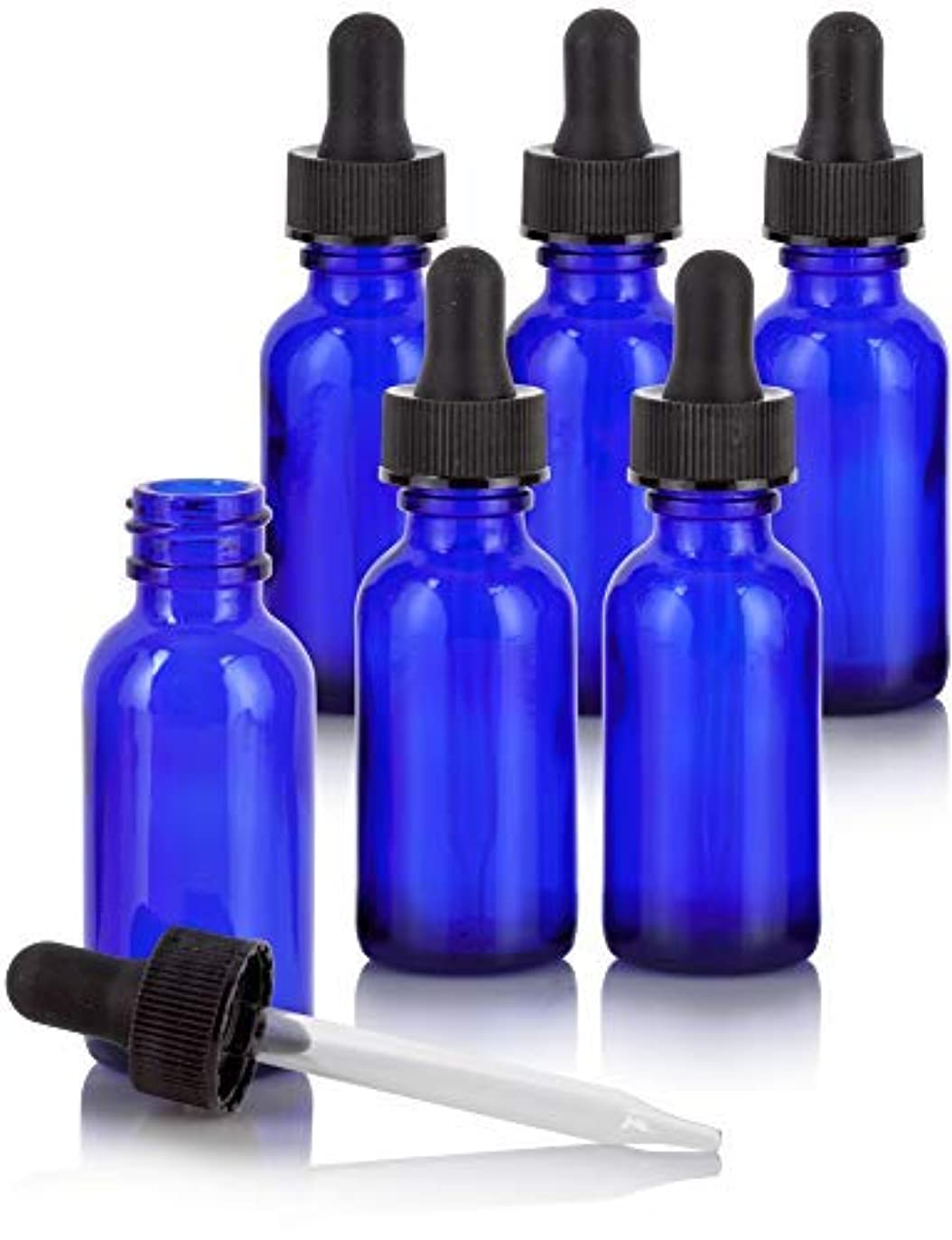 1 oz Cobalt Blue Glass Boston Round Dropper Bottle (6 Pack) + Funnel and Labels for Essential Oils, Aromatherapy...