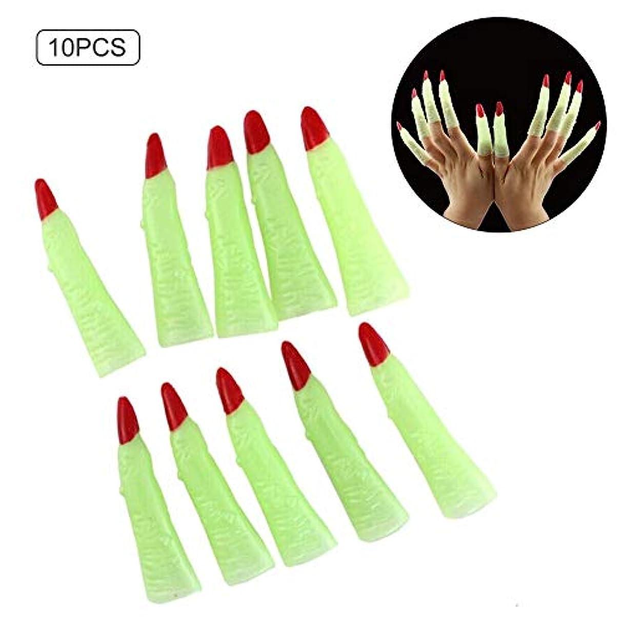 好きである経過カバーハロウィーンネイルカバーの小道具 - ハロウィーン仮装パーティー用の明るいネイル偽ネイルステッカーゾンビ魔女の指セット - 10個