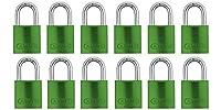 ABUS 72/40 アルミニウム 安全南京錠 グリーン 同一鍵 - 12個パック