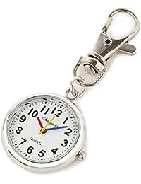 【クロノシア】懐中時計 小型 キーホルダー アンティーク レディース ポケットウォッチ (シルバー)
