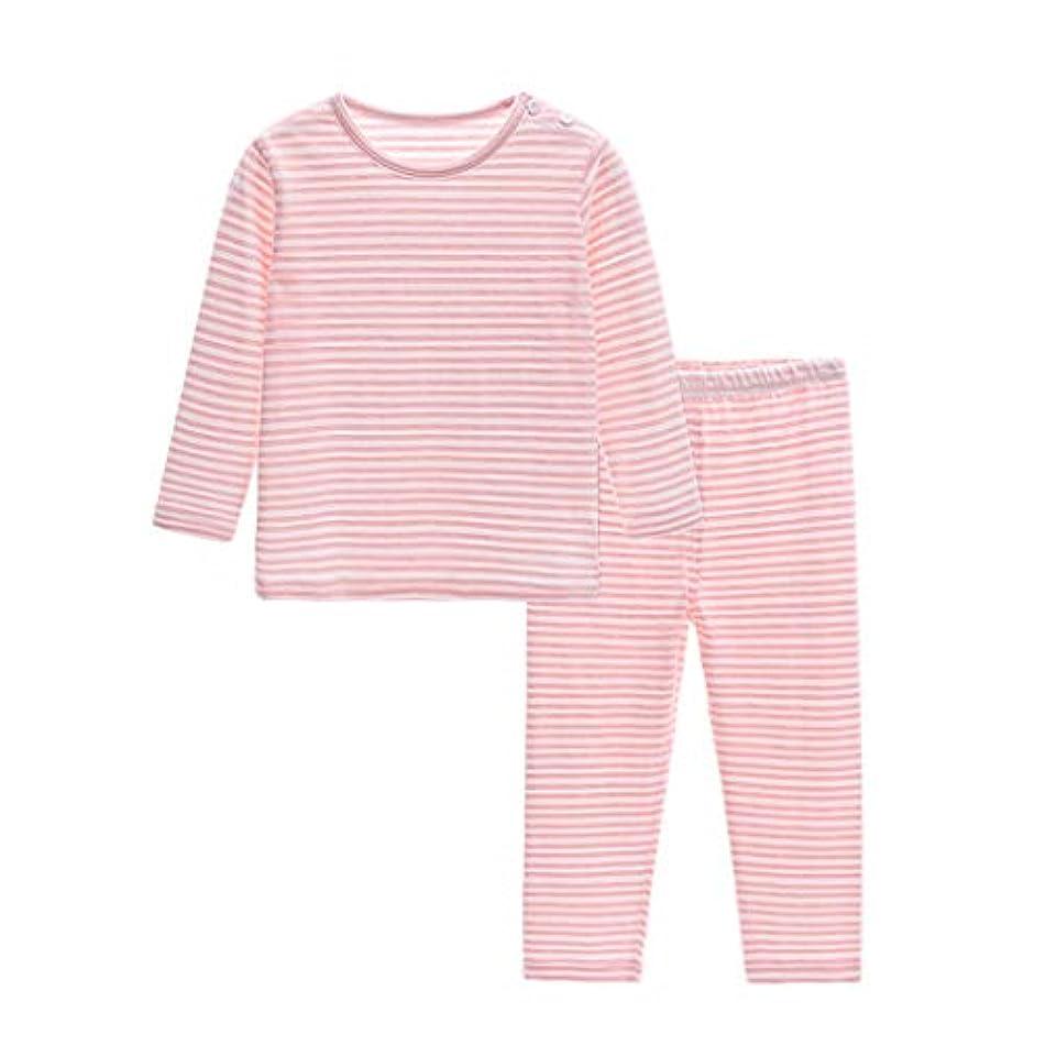 動作小屋抑止するガールズストライプパジャマパジャマスーツパジャマ子供ハロウィーンコスチュームパジャマ年齢1-5歳 (Size : Pink-120CM)