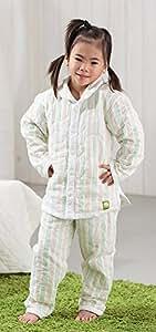 ストライプ柄パシーマパジャマ冬用 暖かぐっすり睡眠_ベビー90㎝フリー (身長70~90cm)男女共通