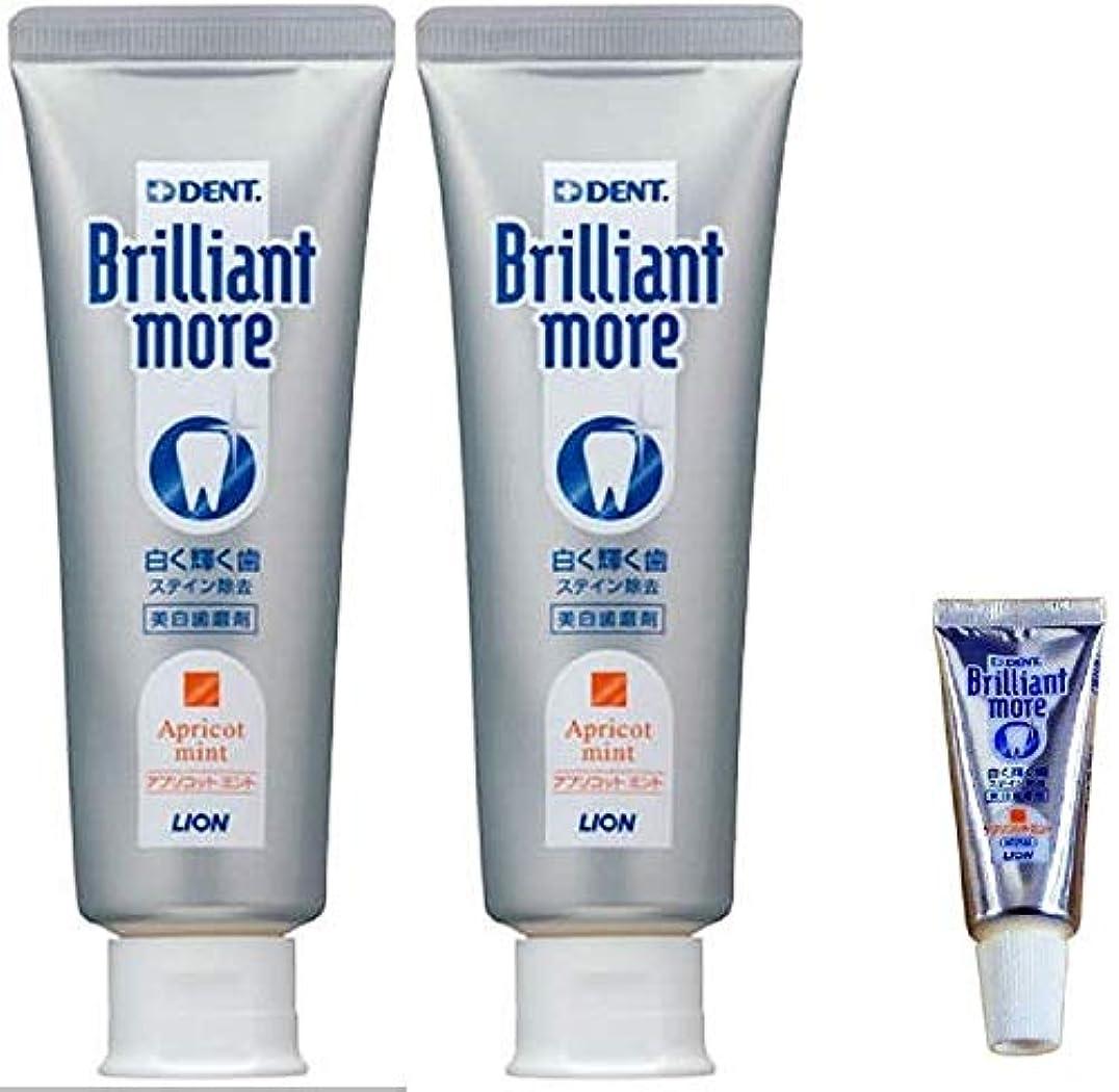 透明にコカイン腸ライオン ブリリアントモア アプリコットミント 歯科用 美白歯磨剤 90g×2本 (試供品 20g×1本付き)期間限定