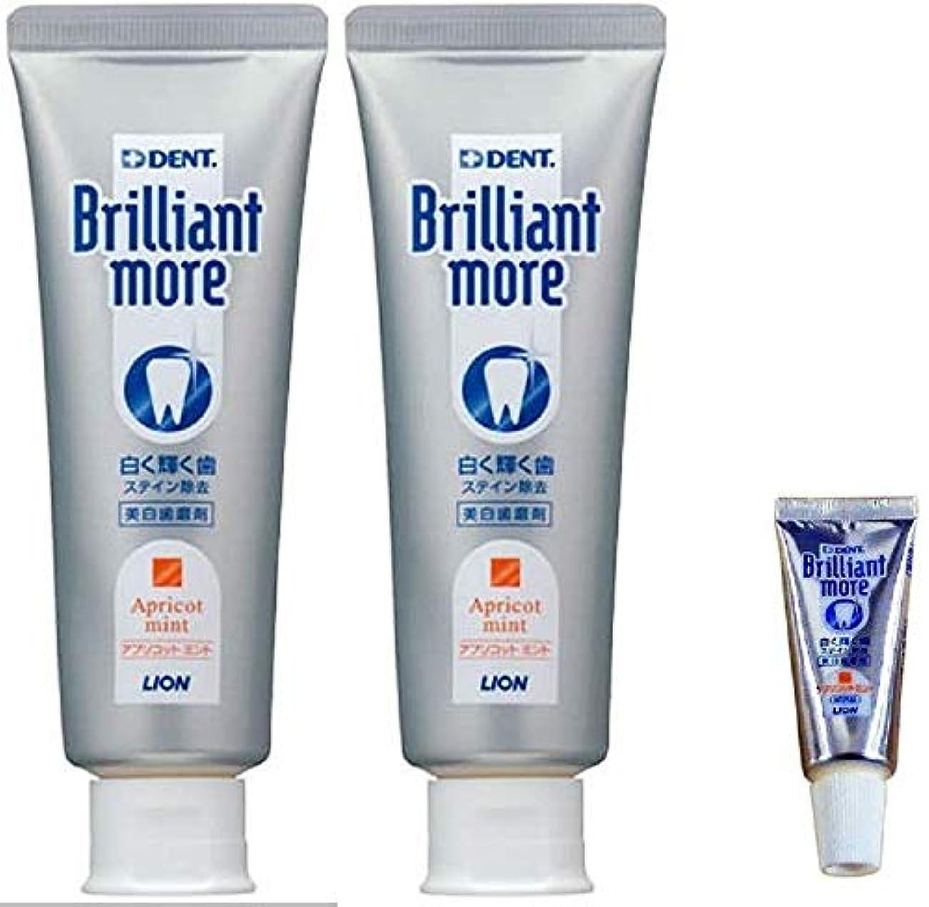 懸念ハブブラリーライオン ブリリアントモア アプリコットミント 歯科用 美白歯磨剤 90g×2本 (試供品 20g×1本付き)期間限定