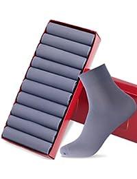 GoldenSelect 靴下 メンズ ビジネスソックス リブソックス 抗菌防臭 10足セット 24-28cm 銀イオン 通気性抜群 (3-ブルー)