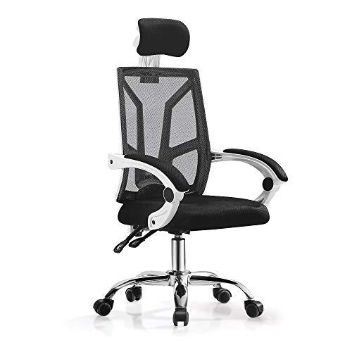 オフィスチェア メッシュ デスクチェア - ハイバック 可動式アームレスト 昇降ヘッドレスト 約155度リクライニング 通気性 鋼製ベース