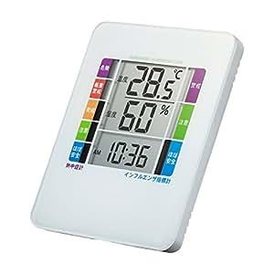 サンワサプライ 熱中症&インフルエンザ表示付きデジタル温湿度計(警告ブザー設定機能付き) CHE-TPHU2W