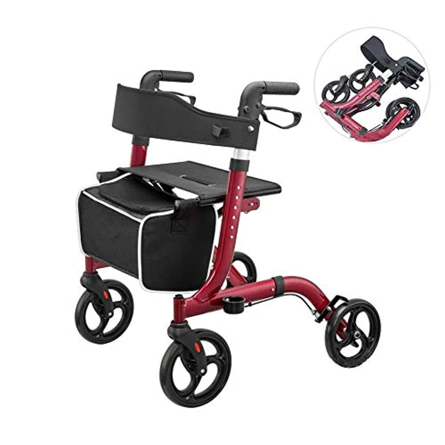 だます防腐剤リズム障害者および老人用の座席と買い物かごを備えた軽量折りたたみ式歩行器