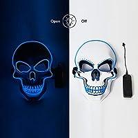 仮面 LEDマスク ハロウィン 光るマスク モード ホラーマスク コスプレマスク ハロウィン変装 仮装大会 イベント 学園祭 パーティーなど最適 (blue)
