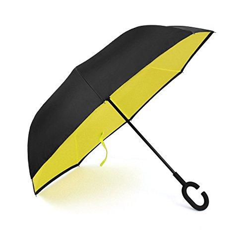 [해외]Luckyauction 거꾸로 우산 반대로 접어 식 우산 길이 우산 手離れ C 형 수중 자동차 용 우산 청우 겸용 장 우산 역 우산 남녀 겸용 거꾸로 우산 이중 우산 .../Luckyauction inverted umbrella reverse umbrella long umbrella separated handed typ...
