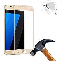 (2枚入り)Lusee 全面保護カバーガラス 対して Samsung Galaxy S7 SM-G930F SM-G9300 G9308 5.1 インチ 用 強化ガラスフィルム 実物に基づいて製造する採用0.26mm 強化ガラス ラウンドカッティング 硬度9H ラウンドエッジ加工 ン耐指紋 撥油性 高透過率液晶保護フィルム (ゴールデン)