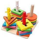 TLMYDD 4列の形状の建物のパズル/おもちゃの木のボールの4列セットのビルディングブロック 子供のおもちゃ