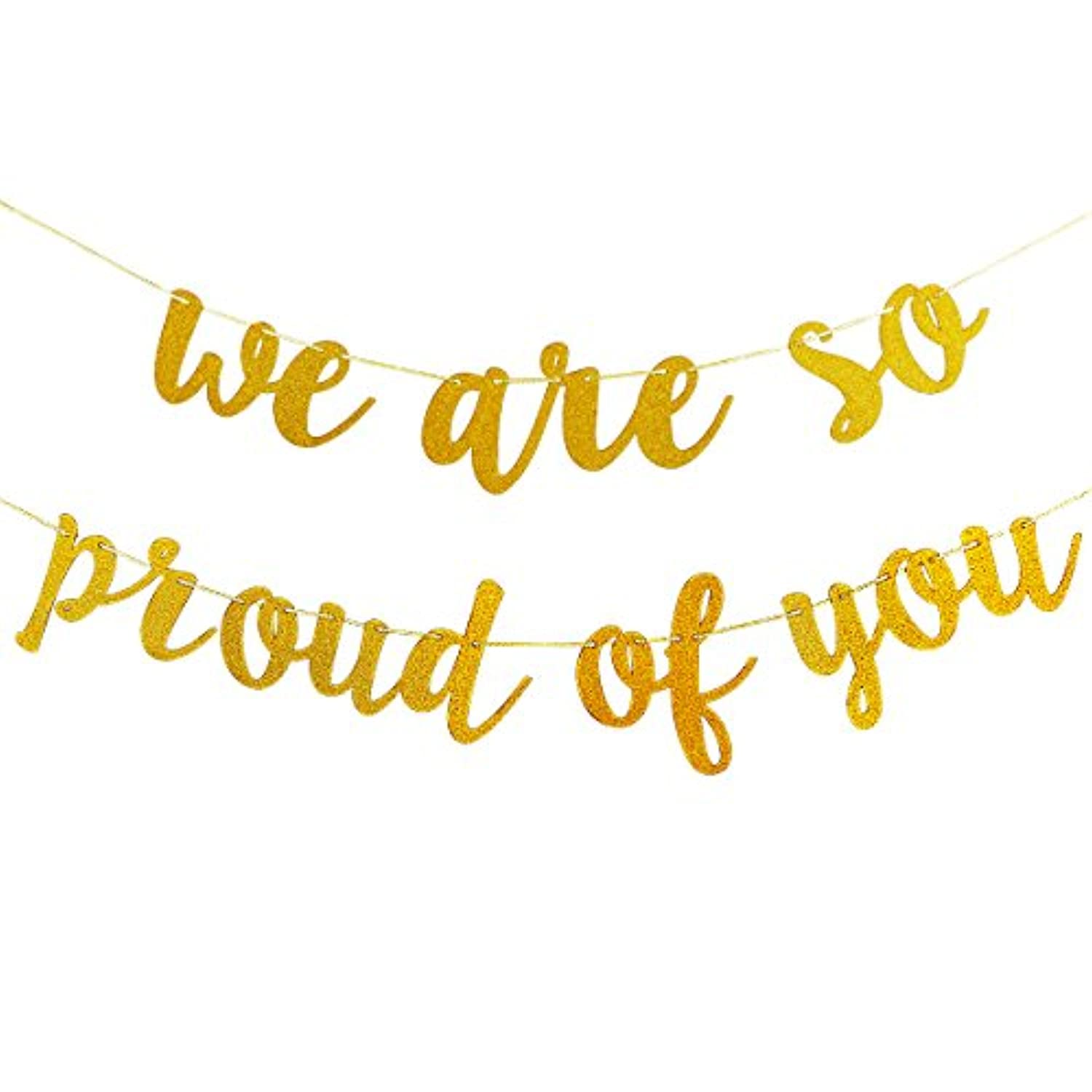 Gold Glittery We are So Proud of You Banner,for Graduation Party/Grad Party Decorations