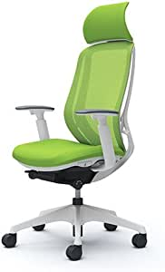 オカムラ オフィスチェア シルフィ― エキストラハイバック メッシュ アジャストアーム 樹脂脚 ホワイトフレーム デスクチェア C68AXW-FMP5 ライムグリーン