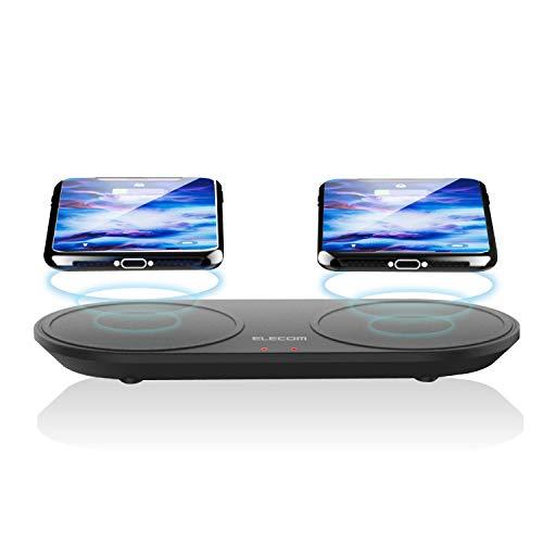 エレコム ワイヤレス 充電器 Qi [ iPhone & Galaxy & Xperia 等 対応 ] 2台同時充電 卓上タイプ 5W+5W 充電スタンド 置くだけ充電 microUSB 充電 ブラック W-QA05BK