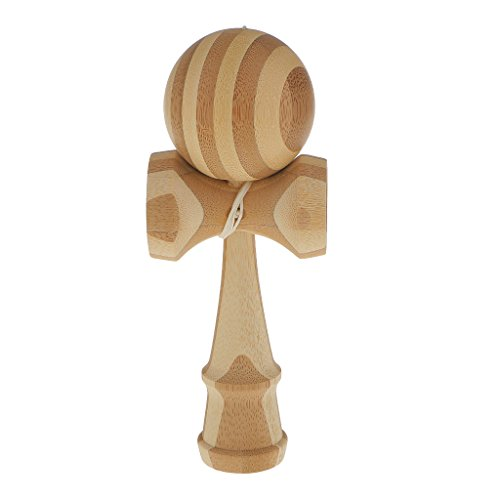 【ノーブランド品】木製 塗装なし竹パターン けん玉 伝統的 おもちゃ スキルボール キッズ スポーツ パーティー ゲーム 贈り物