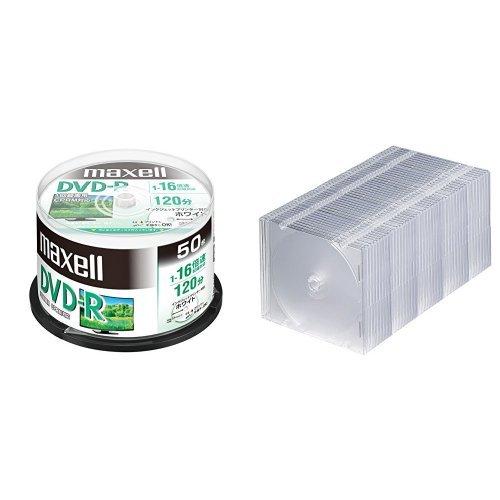 maxell 録画用 (1回録画用) CPRM対応 DVD-R 120分 16倍速対応 インクジェットプリンタ対応ホワイト(ワイド印刷 23mm) 50枚 スピンドルケース入 DRD120PWE.50SPZ+スリムクリアケース 1枚収納×50セット