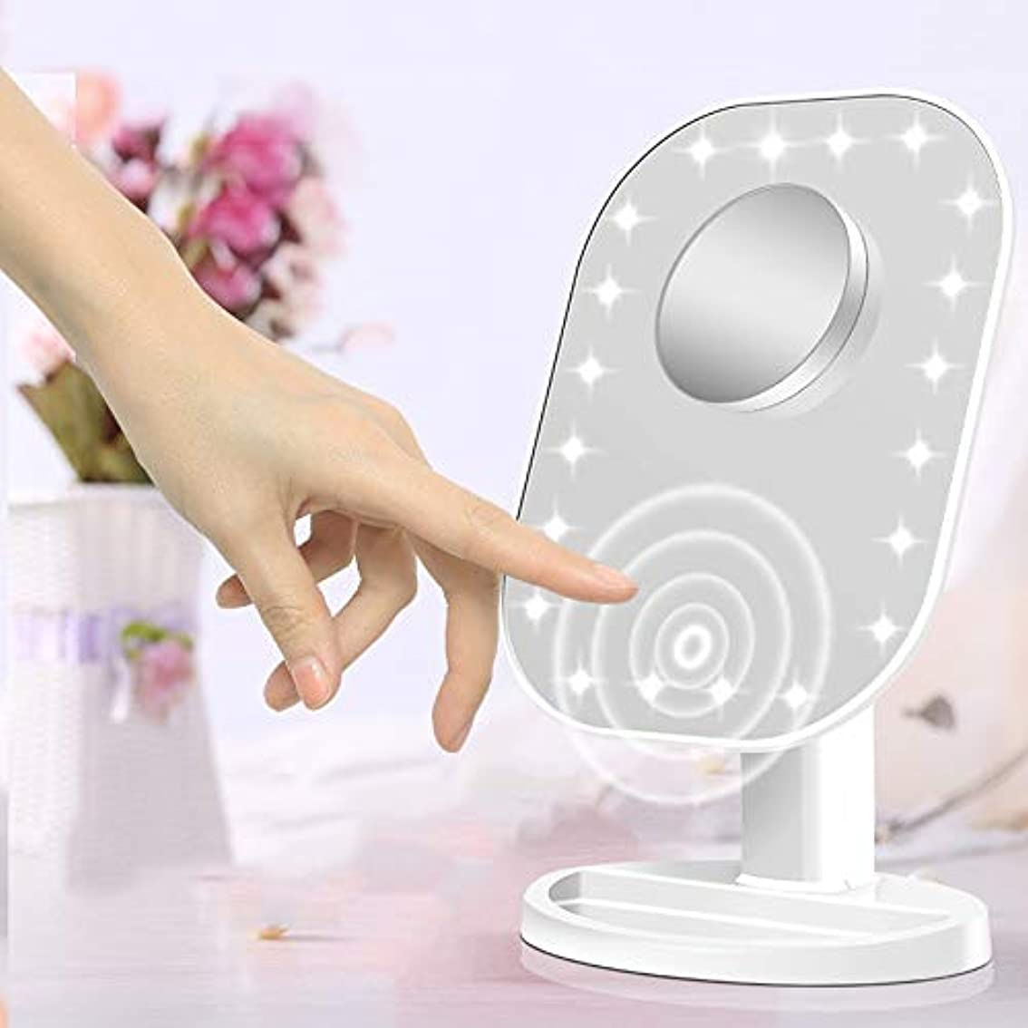 国科学マキシム流行の 新しいデスクトップクリエイティブタッチセンサーled化粧鏡10倍拡大美容化粧鏡フィルライト化粧鏡ピンクホワイト (色 : Pink)