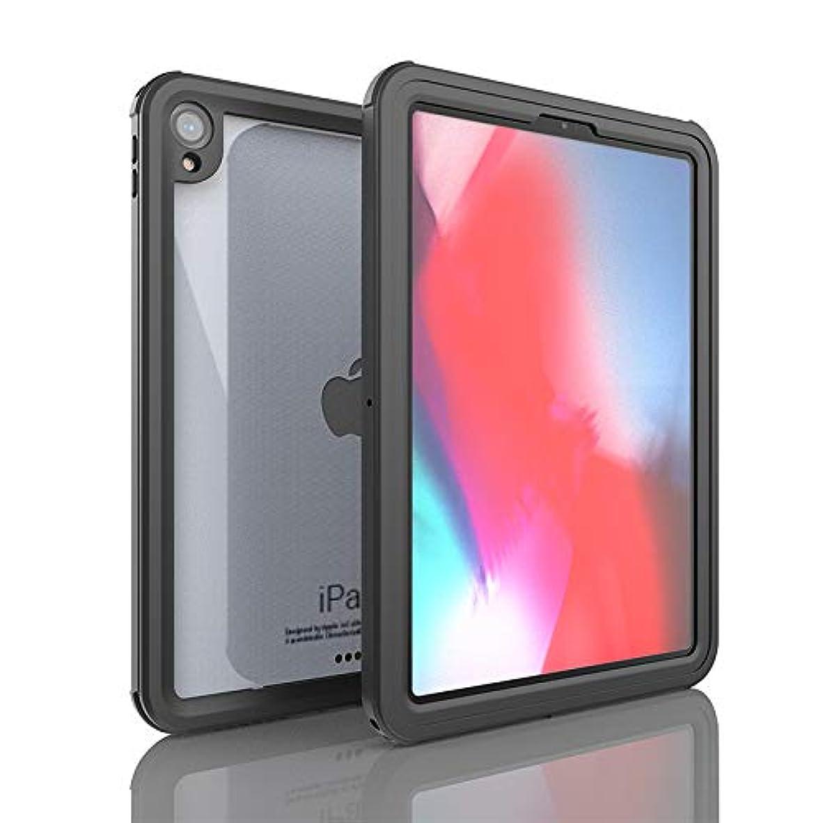 前置詞境界接辞iPad Pro 11 防水ケース (2018) iThrough IP68 水中ケース iPad Pro 11用 高耐久 衝撃 雨 雪 埃 保護ケース スリムカバー ストラップ付き ブラック ITGH368B