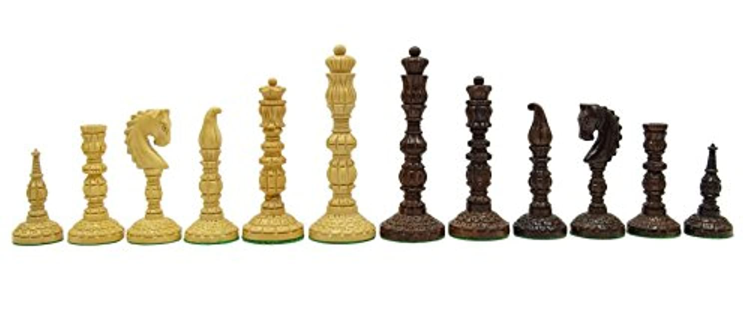 Chessmate Hand Crafted Heavy Chess Golden Rose Wood Staunton Chessmen King's Height 116 mm Gift For Him
