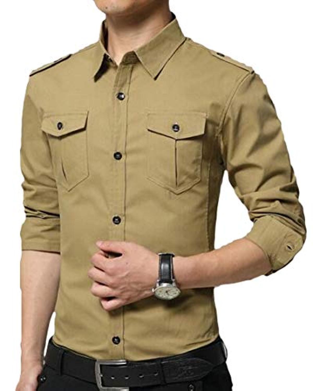 chenshiba-JP メンズロングスリーブミリタリースタイルカーゴタクティカルボタンダウンシャツ