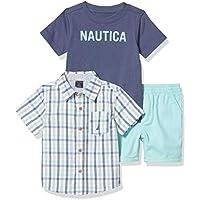 Nautica Sets (KHQ) Baby Boys' Shirt Shorts Set, Yellow -Navy Plaid, 24M