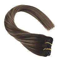 Sunny襟足ウィッグ クリップ式 50cm 7枚セット120g 最高級100%レミー使用 着用簡単 欧米で大ヒット クリップタイプポイントウィッグ 自然な巻き髪 ブラウン&ゴールドウィッグ ゴールド ツートンカラー #2/14