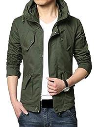 maweisong メンズ大サイズカジュアルスリムフィットアウトウェアフードジャケットコート