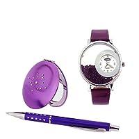 Platini PrincesさまざまなパープルシェードLadies Watchペン&コンパクトミラーギフトセット