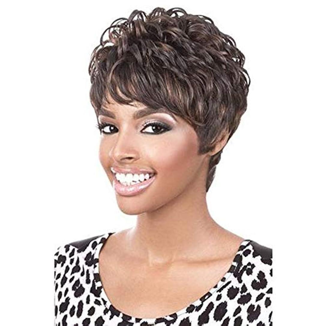 緊張呼吸する偽YOUQIU 前髪+無料ウィッグキャップのかつらを持つ女性人工毛のためにショートブラウンウィッグコスプレウィッグ (色 : ブラウン)
