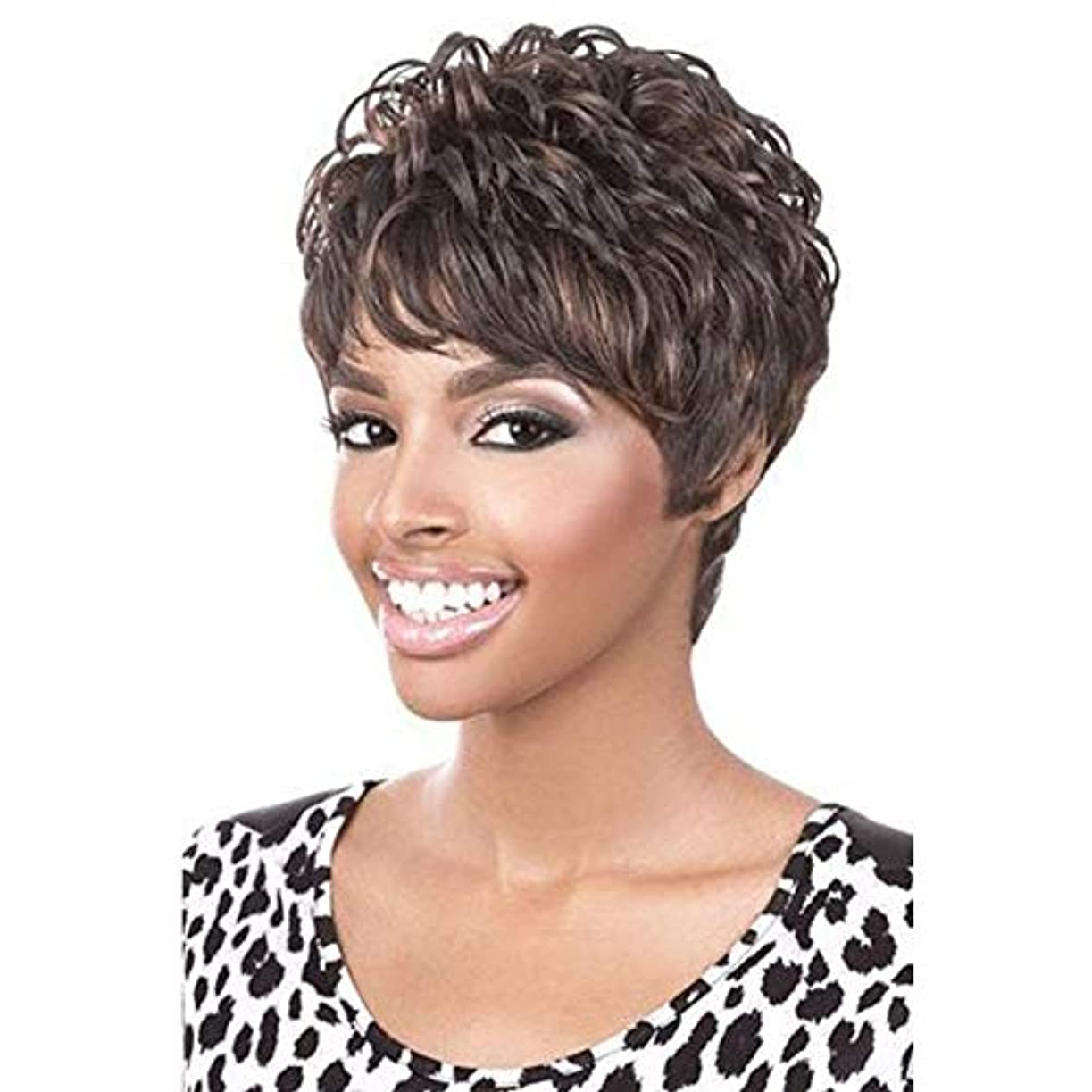チャップ電化する海岸YOUQIU 前髪+無料ウィッグキャップのかつらを持つ女性人工毛のためにショートブラウンウィッグコスプレウィッグ (色 : ブラウン)