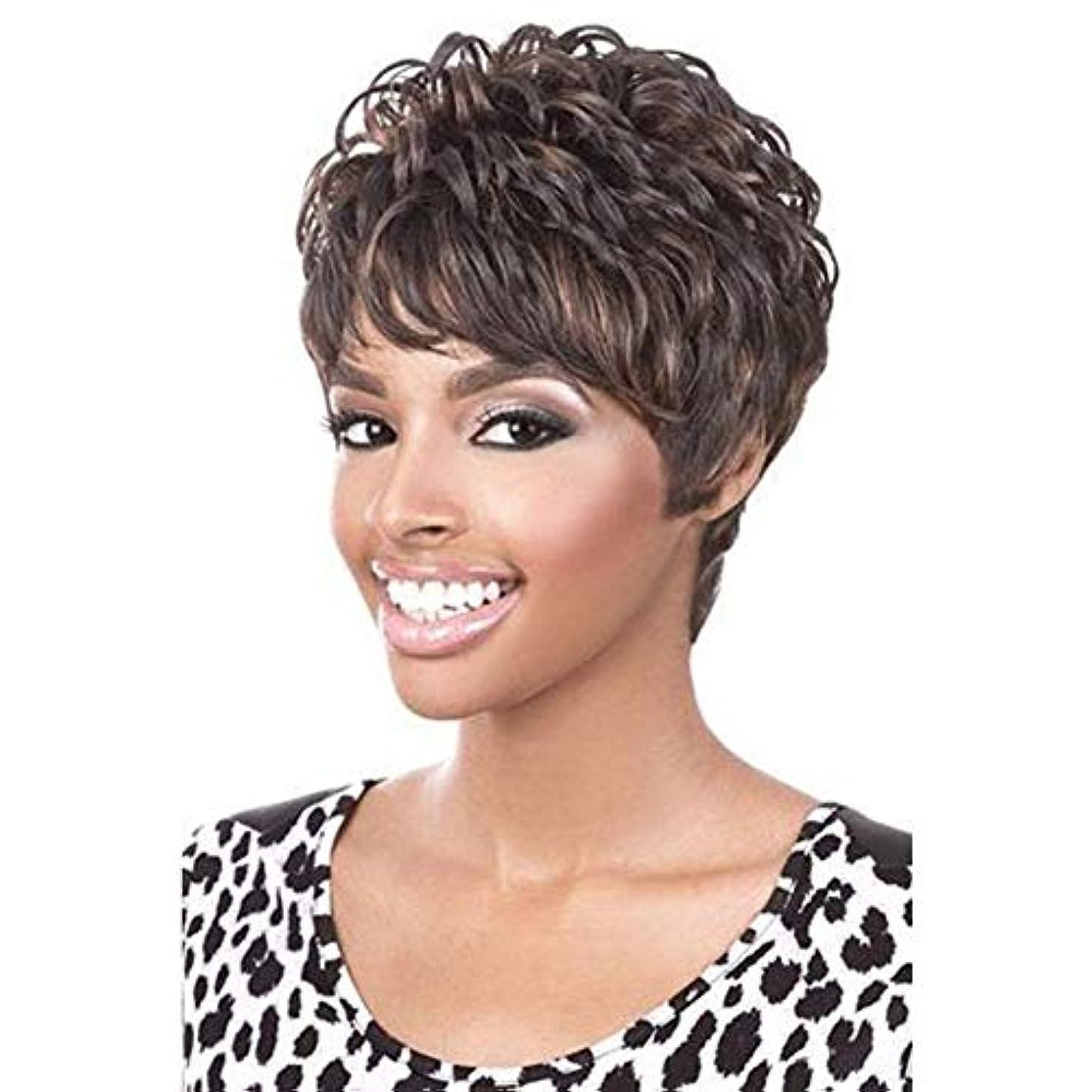 うぬぼれ気をつけて広くYOUQIU 前髪+無料ウィッグキャップのかつらを持つ女性人工毛のためにショートブラウンウィッグコスプレウィッグ (色 : ブラウン)